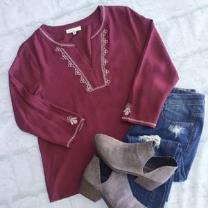 CURRENT AIR Anthro Chic Burgundy Embroidered Top
